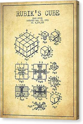 Rubiks Cube Patent From 1983 - Vintage Canvas Print by Aged Pixel
