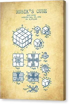 Rubiks Cube Patent From 1983 - Vintage Paper Canvas Print by Aged Pixel