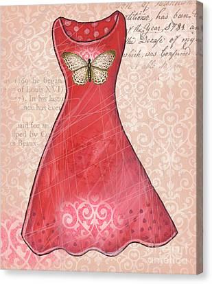 Dressing Room Canvas Print - Ruby Dress by Elaine Jackson