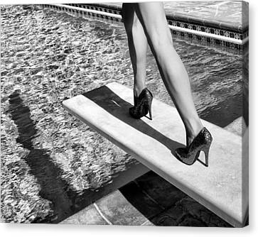 Diving Board Canvas Print - Ruby Heels Bw Palm Springs by William Dey