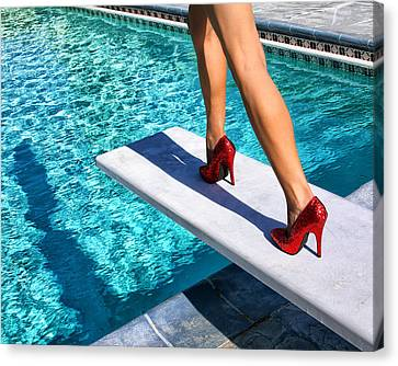 Water Swimming Pool Canvas Print - Ruby Heels Ready For Take-off Palm Springs by William Dey