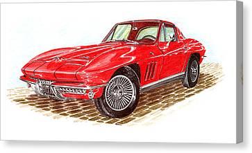Ruby Red 1966 Corvette Stingray Fastback Canvas Print by Jack Pumphrey