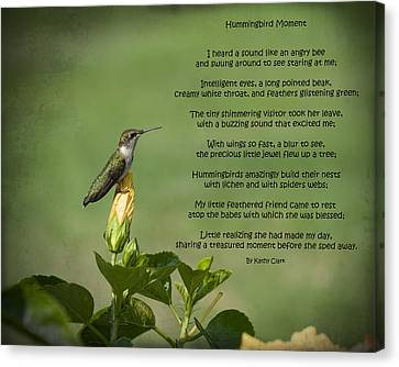 Ruby Throated Hummingbird Moment Canvas Print by Kathy Clark