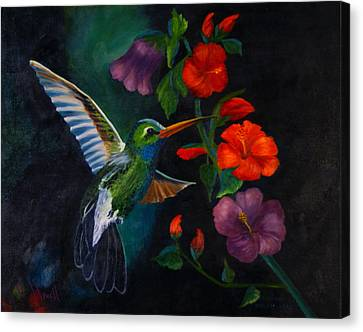 Canvas Print featuring the painting Rubythroated Humming Bird And Hibiscus by J Cheyenne Howell
