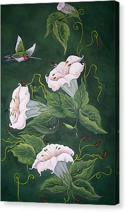 Hummingbird And Lilies Canvas Print by Sharon Duguay