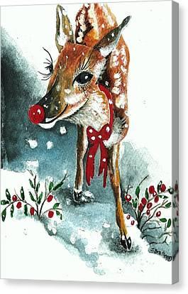 Christmas Greeting Canvas Print - Rudolf by Joy Bradley