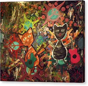 Rudy And Sketch Electric Cats Canvas Print by Yvonne  Kroupa