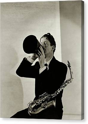 Rudy Vallee With A Saxophone Canvas Print by George Hoyningen-Huene