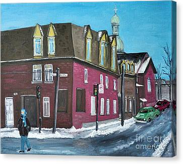 Rue Centre Pte St Charles Canvas Print by Reb Frost