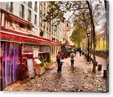 Canvas Print featuring the painting Rue Coquilliere In Paris by Kai Saarto
