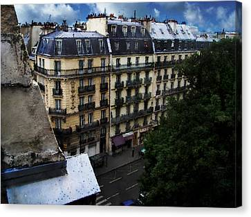 Canvas Print featuring the digital art Rue Des Ecoles In Paris France From The 6th Floor Balcony Of The Henri Iv Hotel by David Blank
