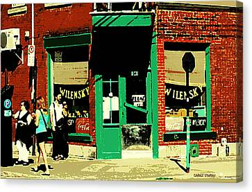 Rue Fairmount Wilensky Diner Cafe Feeding The Parking Meter Montreal Street Scene Carole Spandau Canvas Print by Carole Spandau