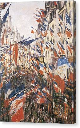 Rue Montorgeuil Decked With Flags Canvas Print by Claude Monet