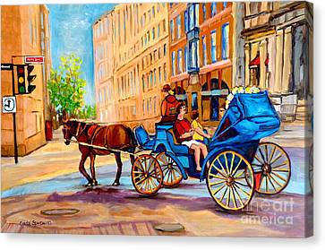 Canvas Print featuring the painting Rue Notre Dame Caleche Ride by Carole Spandau