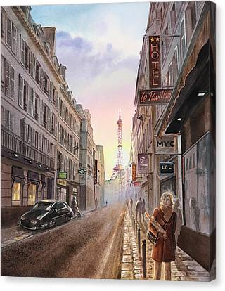 Rue Saint Dominique Sunset Through Eiffel Tower   Canvas Print by Irina Sztukowski
