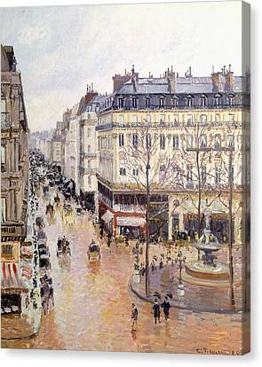 Rue Saint Honore Afternoon Rain Effect Canvas Print by Camille Pissarro