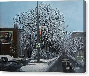 Montreal Winter Scenes Canvas Print - Rue St Jacques by Reb Frost