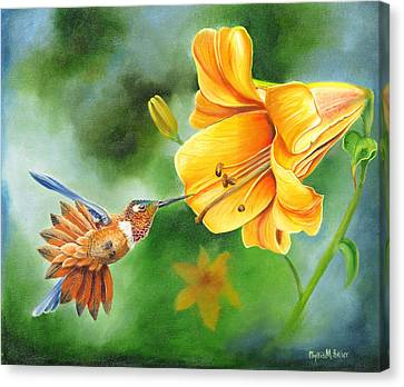 Canvas Print featuring the painting Rufous Hummer And The Lily by Phyllis Beiser
