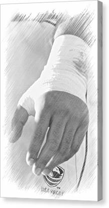 Rugby Hands Canvas Print by Evan Premer