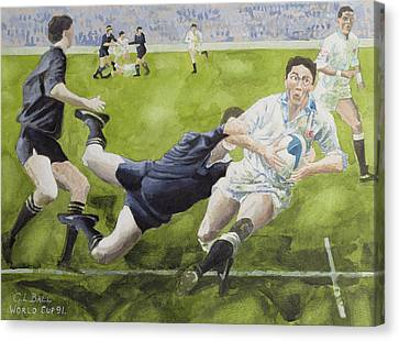 Rugby Match England V New Zealand In The World Cup, 1991, Rory Underwood Being Tackled Wc Canvas Print by Gareth Lloyd Ball