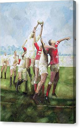 Rugby Match Llanelli V Swansea, Line Out Canvas Print