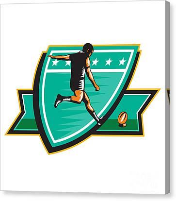 Rugby Player Kicking Ball Shield Retro Canvas Print