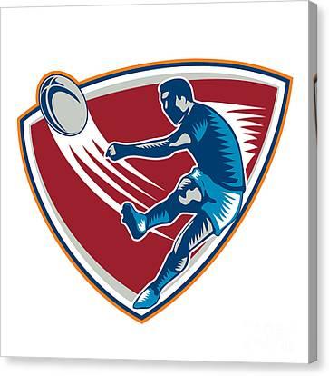 Rugby Player Kicking Ball Shield Woodcut Canvas Print