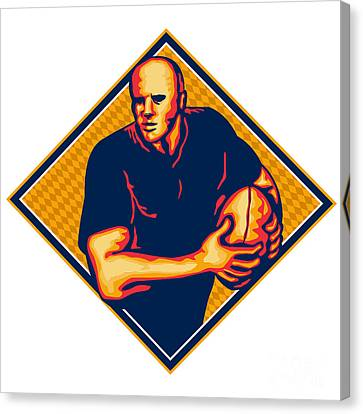 Rugby Player Running Ball Retro Canvas Print by Aloysius Patrimonio