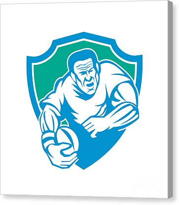 Rugby Player Running Ball Shield Linocut Canvas Print by Aloysius Patrimonio