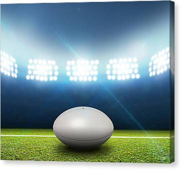 Rugby Stadium And Ball Canvas Print by Allan Swart