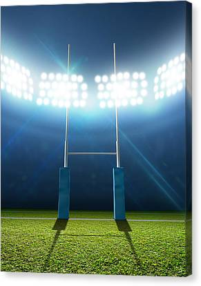 Rugby Stadium And Posts Canvas Print by Allan Swart