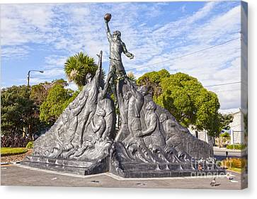 Rugby World Cup Sculpture Wellington New Zealand Canvas Print by Colin and Linda McKie