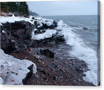 Rugged Shore Winter Canvas Print by James Peterson
