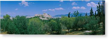 Ruined Buildings On A Hilltop Canvas Print by Panoramic Images