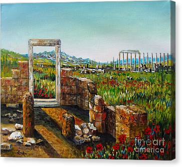 Ruined City With Poppies Canvas Print by Lou Ann Bagnall