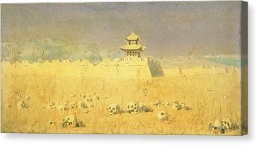 Chinese Landscape Canvas Print - Ruins In Chuguchak, 1869 Oil On Canvas by Piotr Petrovitch Weretshchagin