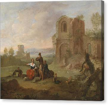 Ruins Landscape With Locking Hikers Canvas Print