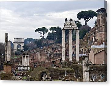 Ruins Of A Building, Roman Forum, Rome Canvas Print by Panoramic Images