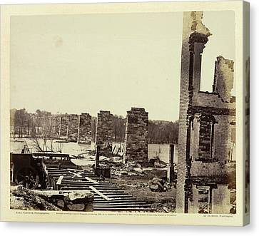Ruins Of A Railroad Bridge Canvas Print by British Library