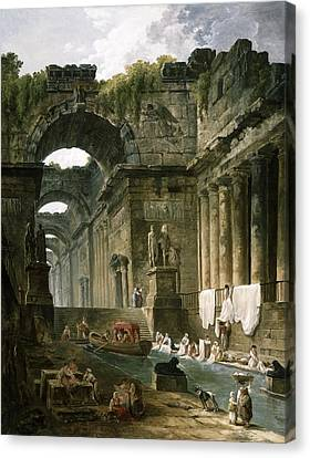 Ruins Of A Roman Bath With Washerwomen Canvas Print by Hubert Robert