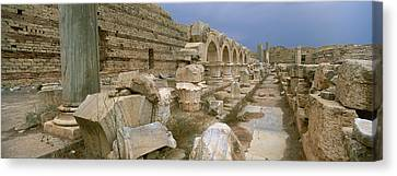Ruins Of Ancient Roman City, Leptis Canvas Print by Panoramic Images