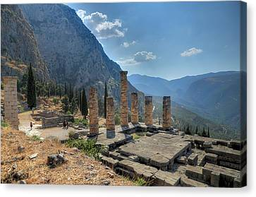 Ruins Of Apollos Temple And The Valley Of Phocis Canvas Print by Micah Goff