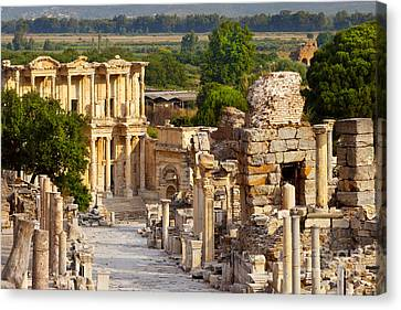 Library Of Celsus Canvas Print - Ruins Of Ephesus by Brian Jannsen