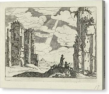 Ruins Of The Baths Of Caracalla, Willem Van Nieulandt II Canvas Print by Willem Van Nieulandt (ii) And Anonymous