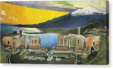 Ruins Of The Greek Theatre At Taormina Canvas Print by Tivadar Kosztka Csontvary