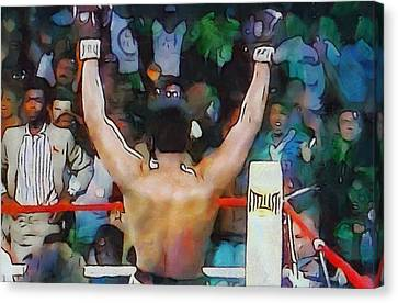 Rumble In The Jungle Ali Wins Canvas Print by Dan Sproul