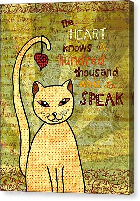 Rumi Cat Heart Canvas Print by Cat Whipple