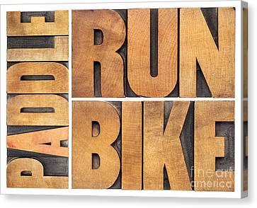 Canvas Print featuring the photograph Run Bike Paddle - Triathlon Concept by Marek Uliasz