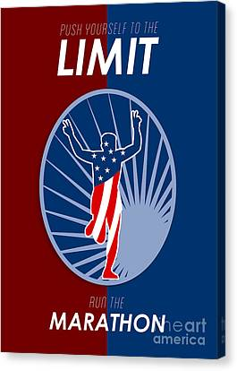 Run Marathon Push Limits Retro Poster Canvas Print by Aloysius Patrimonio