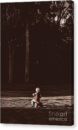 Runaway Child Riding Tricycle At Old Dark Forest Canvas Print by Jorgo Photography - Wall Art Gallery